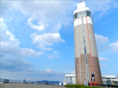 舞鶴五老スカイタワーから仮想バンジーチャンプする店長の図