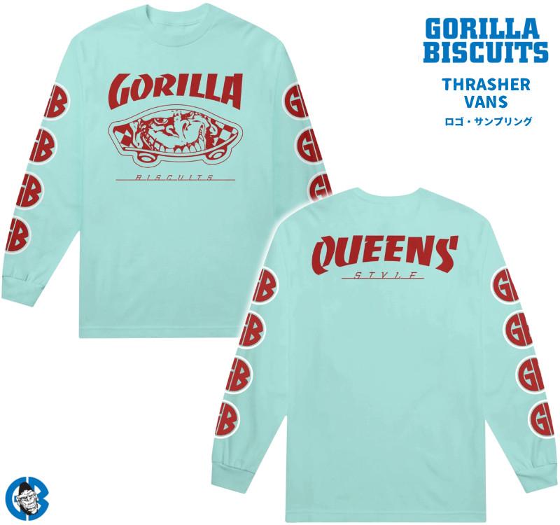 Gorilla Biscuits /ゴリラ・ビスケッツ - Queens Style ロングスリーブ・長袖シャツ(ミントブルー)