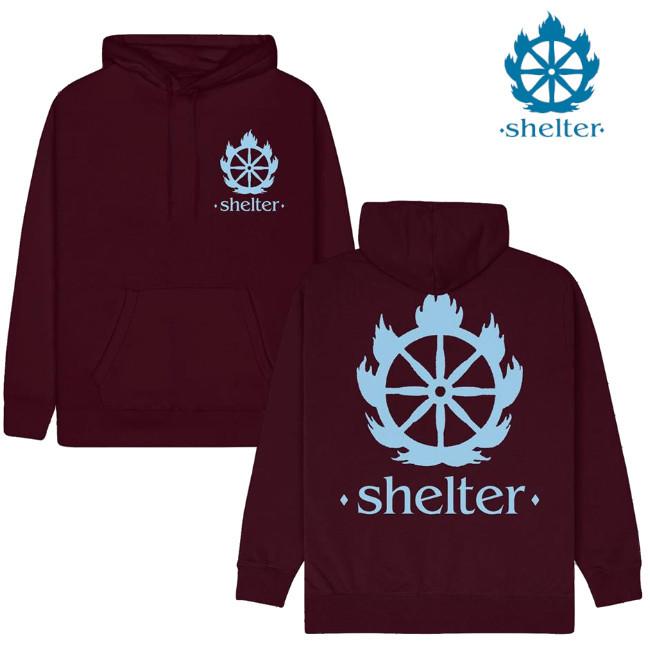 Shelter /シェルター - Logo プルオーバーパーカー(マルーン)
